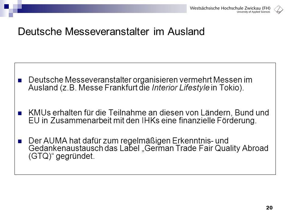 Deutsche Messeveranstalter im Ausland