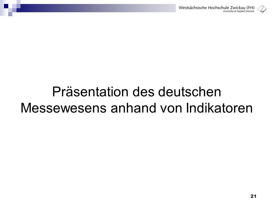 Präsentation des deutschen Messewesens anhand von Indikatoren