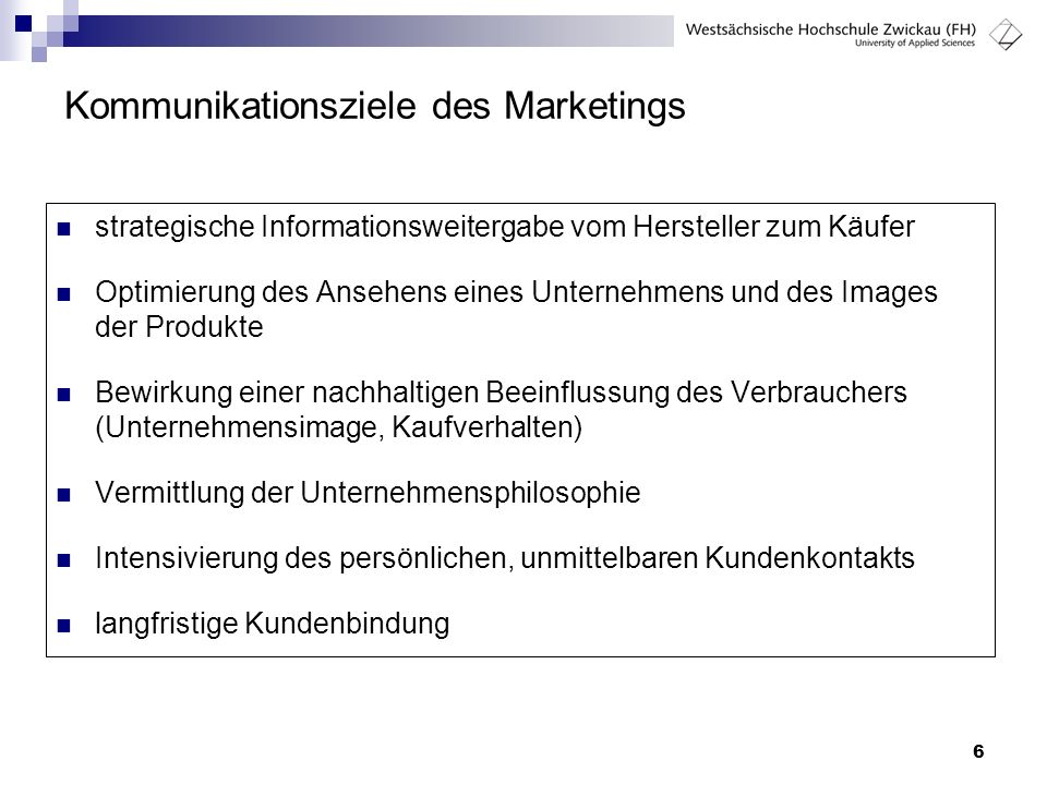 Kommunikationsziele des Marketings