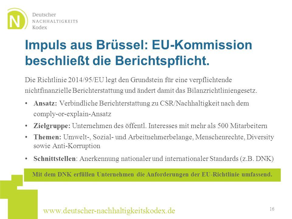 Impuls aus Brüssel: EU-Kommission beschließt die Berichtspflicht.