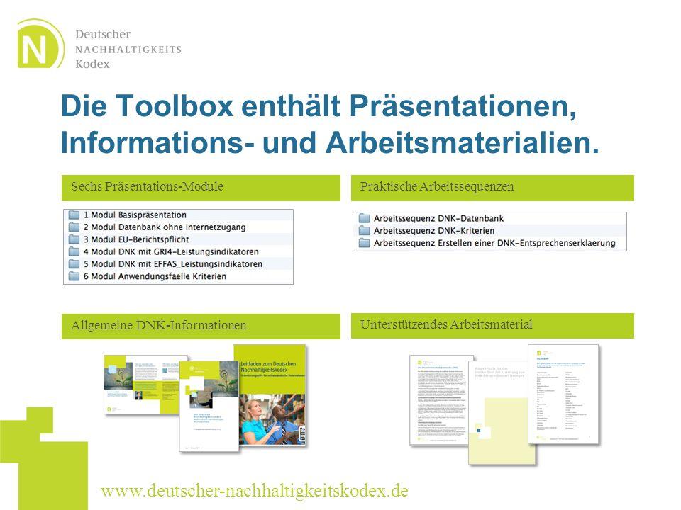 Die Toolbox enthält Präsentationen, Informations- und Arbeitsmaterialien.