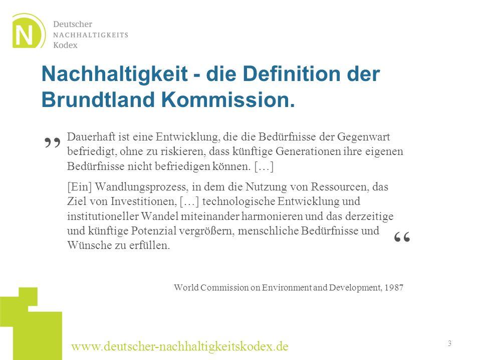 Nachhaltigkeit - die Definition der Brundtland Kommission.