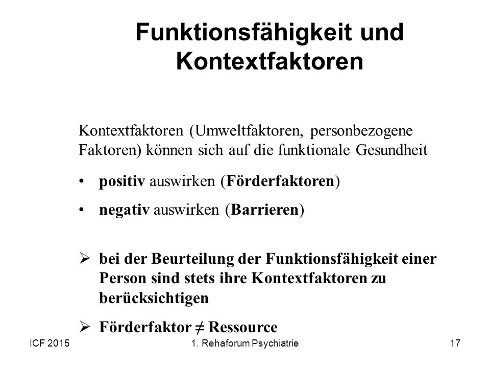 Funktionsfähigkeit und Kontextfaktoren