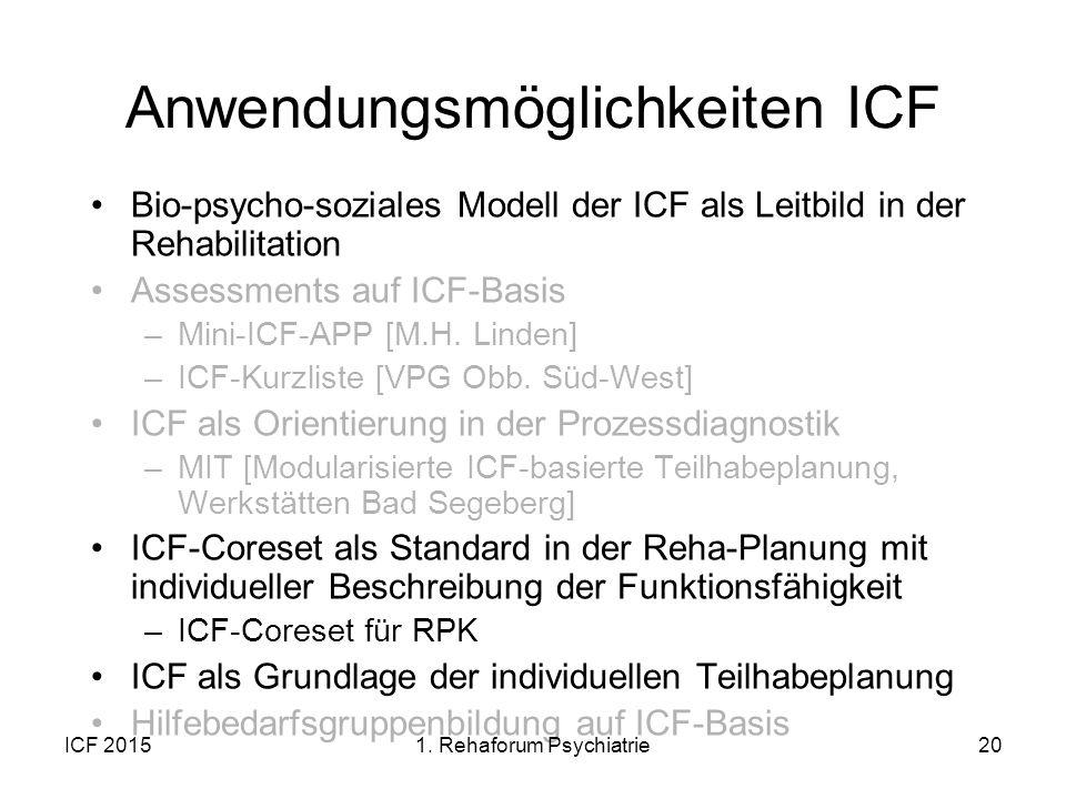 Anwendungsmöglichkeiten ICF