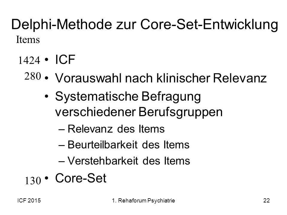 Delphi-Methode zur Core-Set-Entwicklung