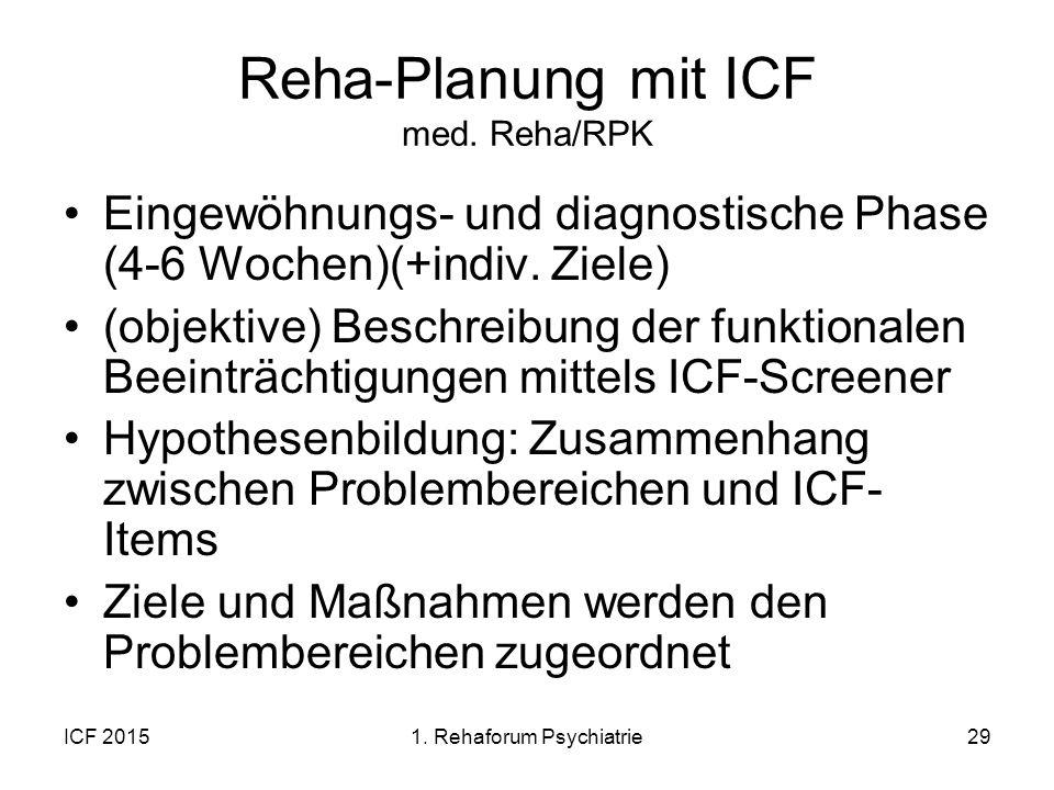 Reha-Planung mit ICF med. Reha/RPK