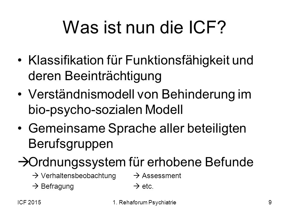 1. Rehaforum Psychiatrie