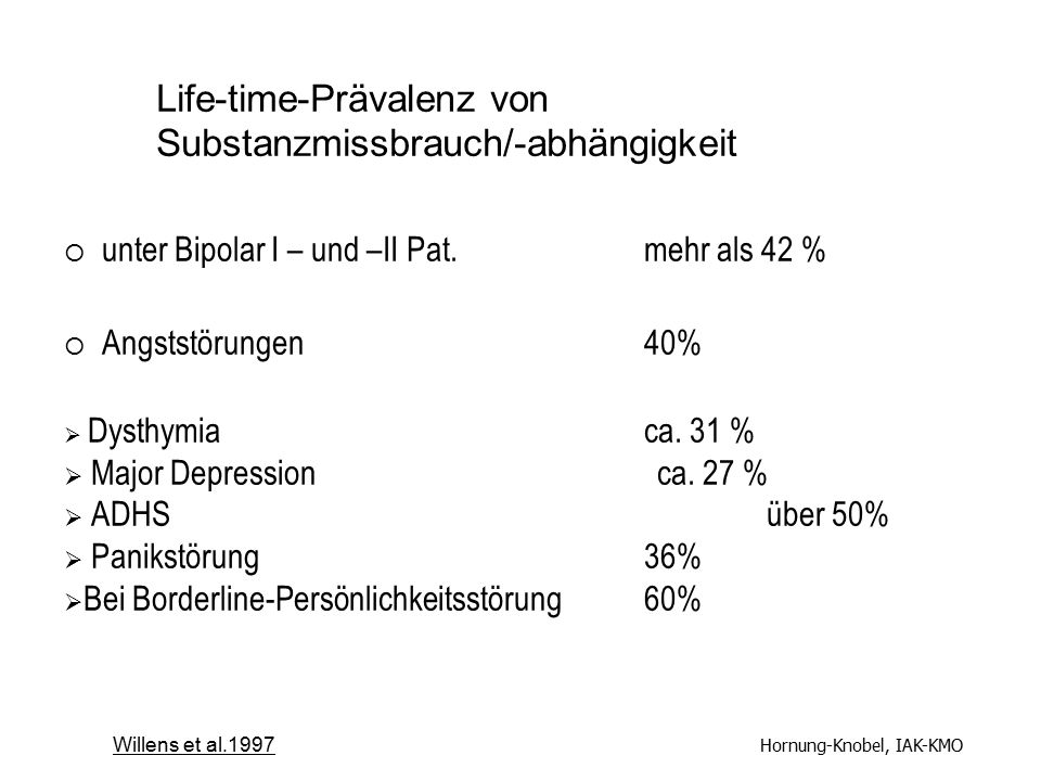 Life-time-Prävalenz von Substanzmissbrauch/-abhängigkeit