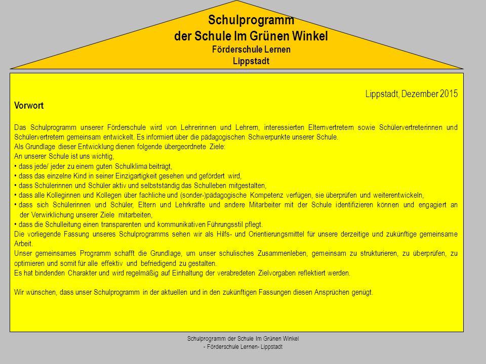 Schulprogramm der Schule Im Grünen Winkel Förderschule Lernen Lippstadt