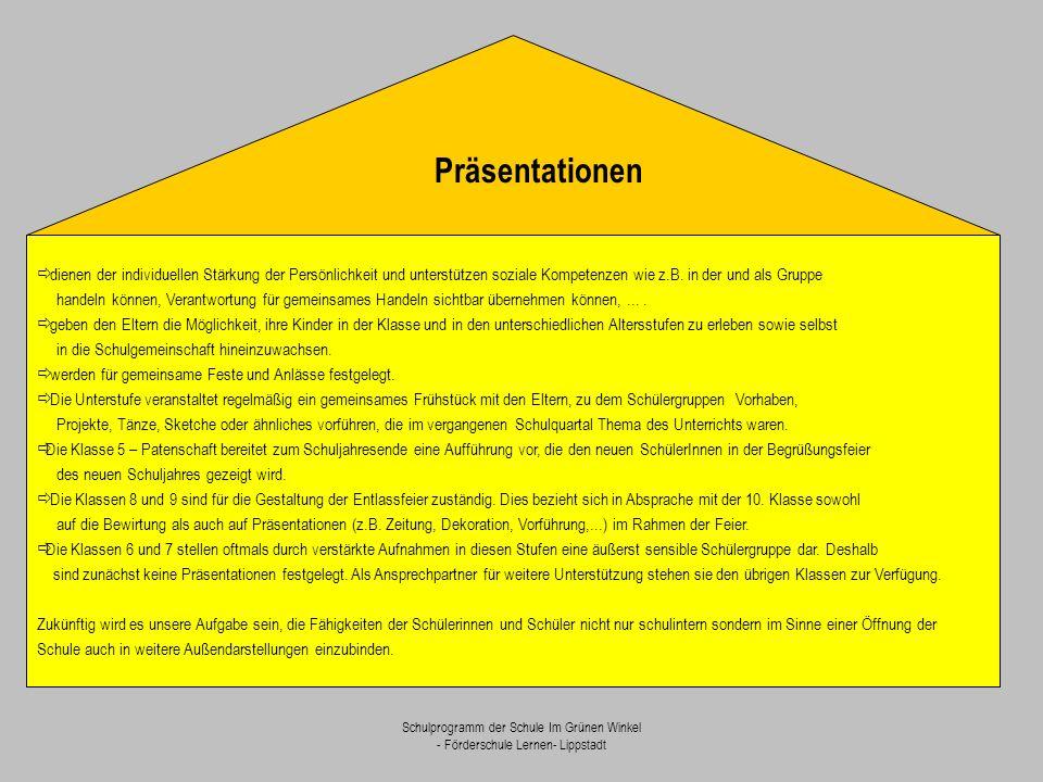 Präsentationen ð dienen der individuellen Stärkung der Persönlichkeit und unterstützen soziale Kompetenzen wie z.B. in der und als Gruppe.