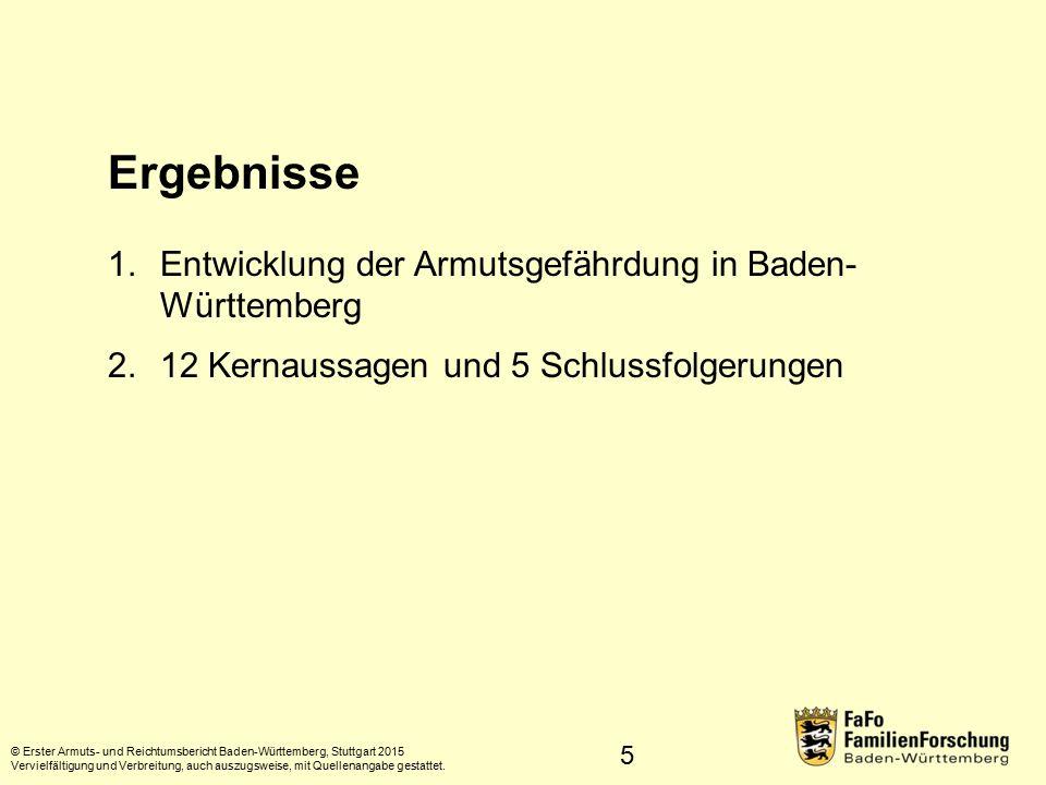 Ergebnisse Entwicklung der Armutsgefährdung in Baden- Württemberg