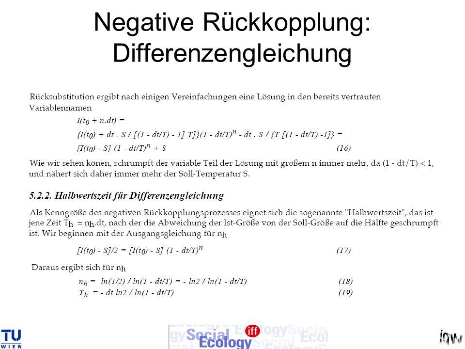 Negative Rückkopplung: Differenzengleichung