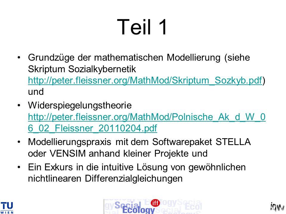 Teil 1 Grundzüge der mathematischen Modellierung (siehe Skriptum Sozialkybernetik http://peter.fleissner.org/MathMod/Skriptum_Sozkyb.pdf) und.