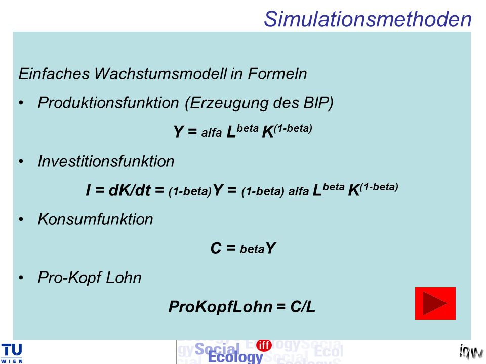 I = dK/dt = (1-beta)Y = (1-beta) alfa Lbeta K(1-beta)