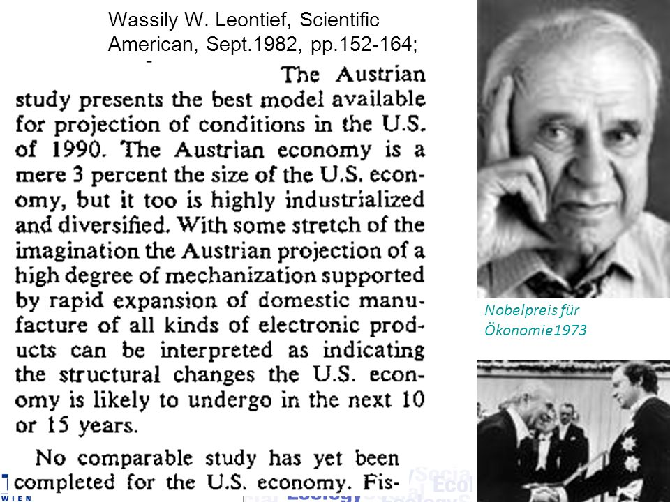 Wassily W. Leontief, Scientific American, Sept.1982, pp.152-164;