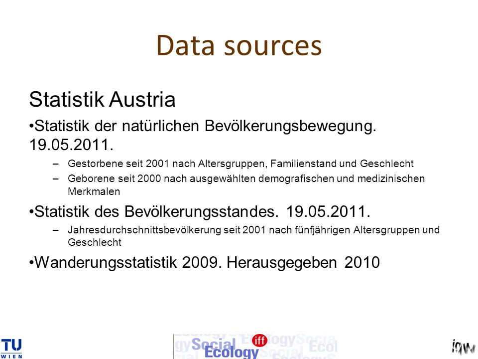 Data sources Statistik Austria