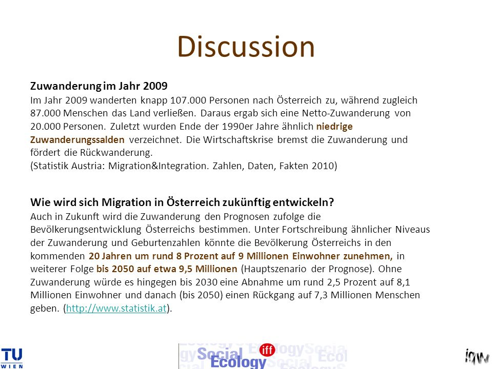 Discussion Zuwanderung im Jahr 2009