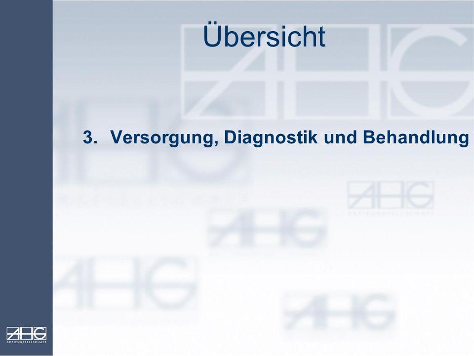 Übersicht 3. Versorgung, Diagnostik und Behandlung