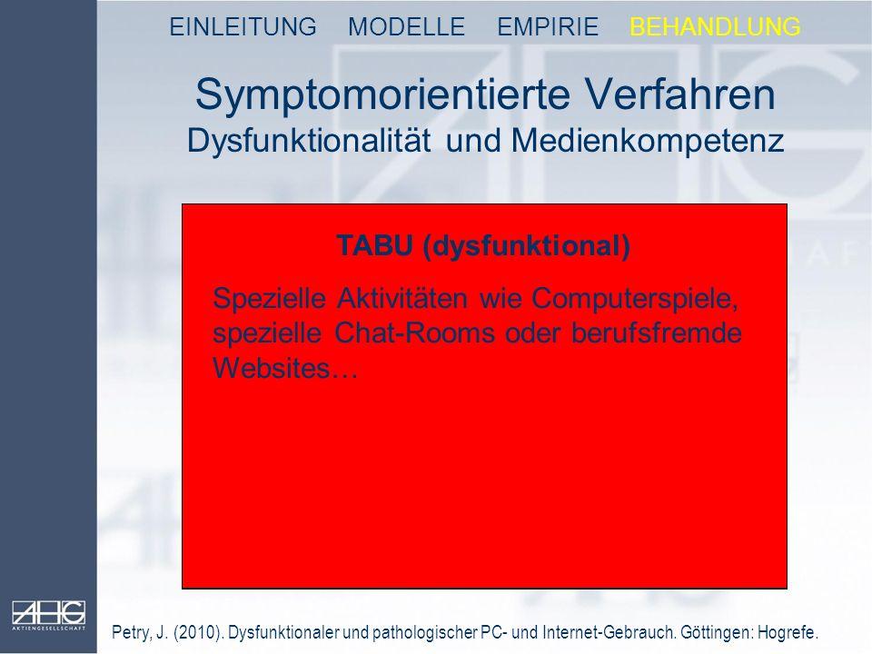 Symptomorientierte Verfahren Dysfunktionalität und Medienkompetenz
