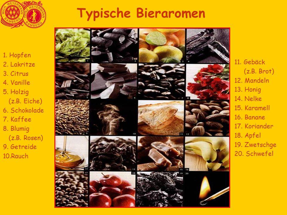 Typische Bieraromen 1. Hopfen 2. Lakritze 11. Gebäck 3. Citrus