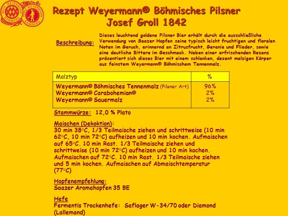 Rezept Weyermann® Böhmisches Pilsner Josef Groll 1842