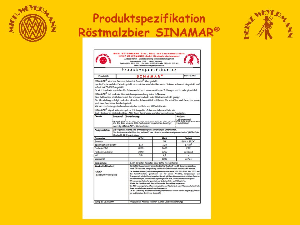 Produktspezifikation Röstmalzbier SINAMAR®