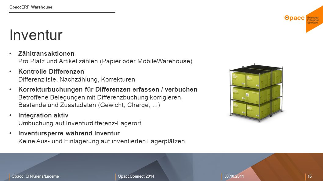OpaccERP Warehouse Inventur. Zähltransaktionen Pro Platz und Artikel zählen (Papier oder MobileWarehouse)