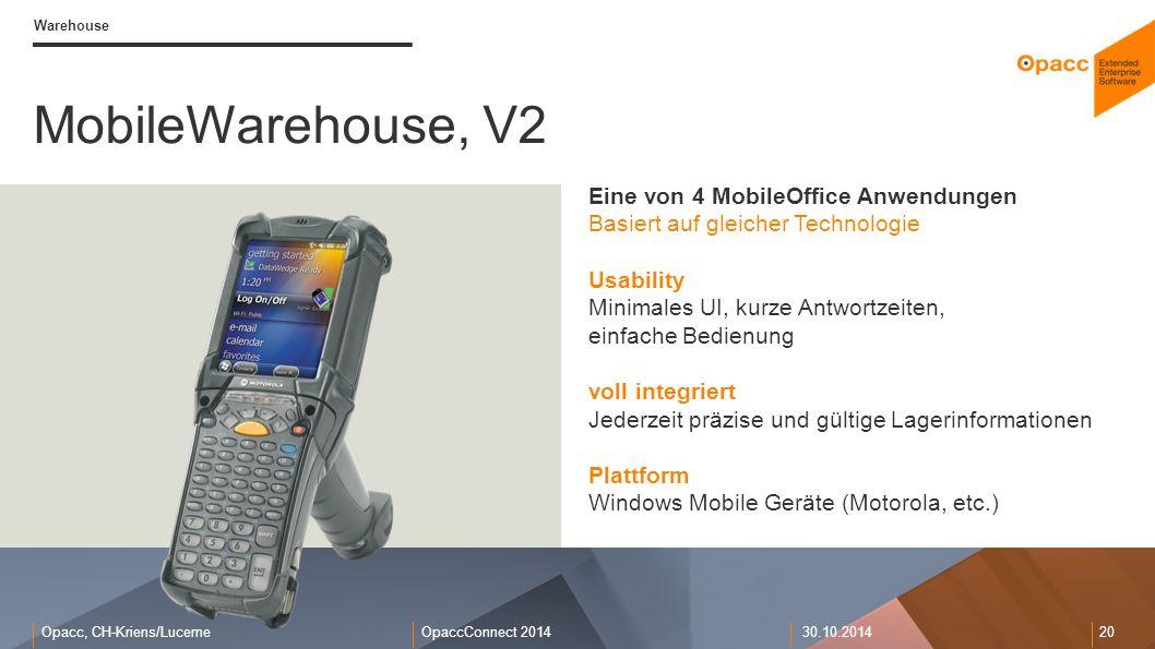 MobileWarehouse, V2 Eine von 4 MobileOffice Anwendungen