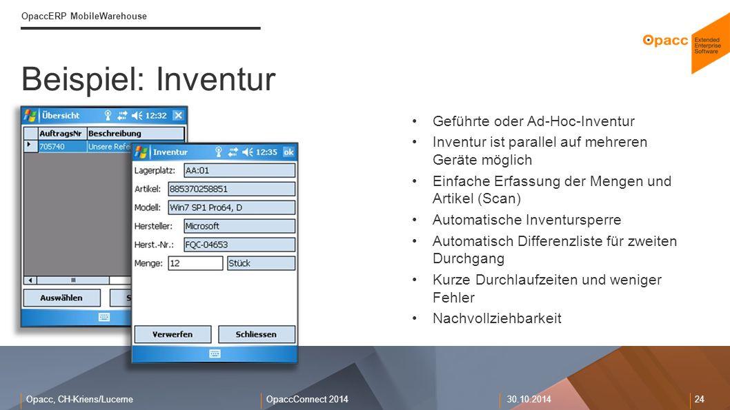 Beispiel: Inventur Geführte oder Ad-Hoc-Inventur