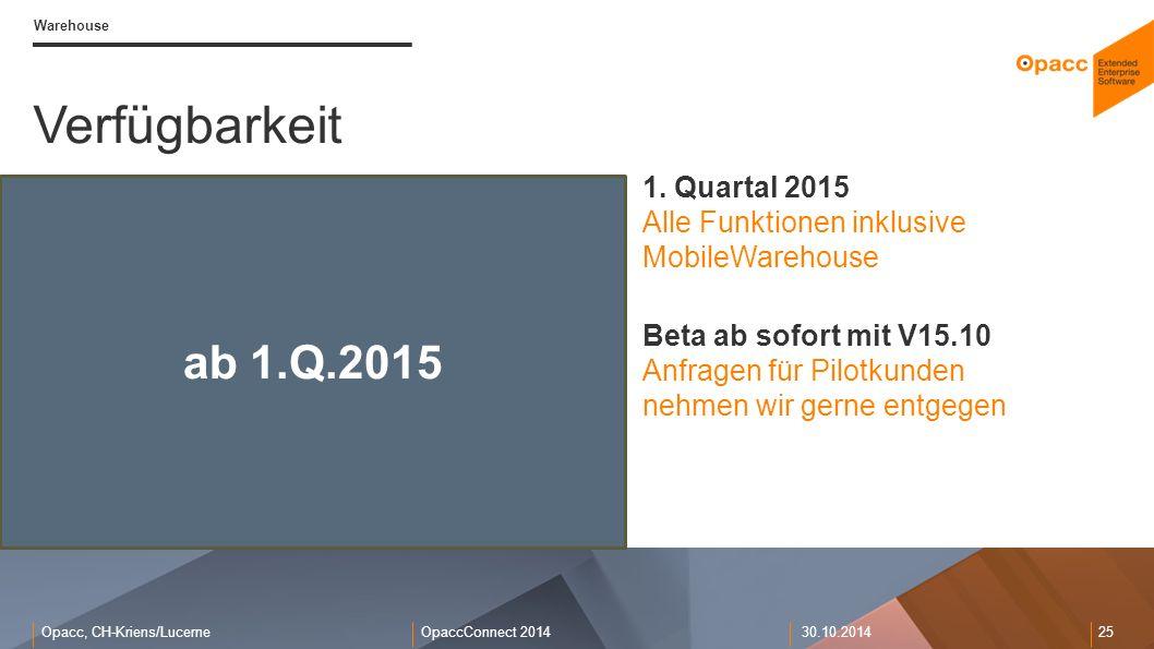 Warehouse Verfügbarkeit. 1. Quartal 2015 Alle Funktionen inklusive MobileWarehouse.