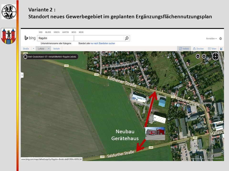 Variante 2 : Standort neues Gewerbegebiet im geplanten Ergänzungsflächennutzungsplan.