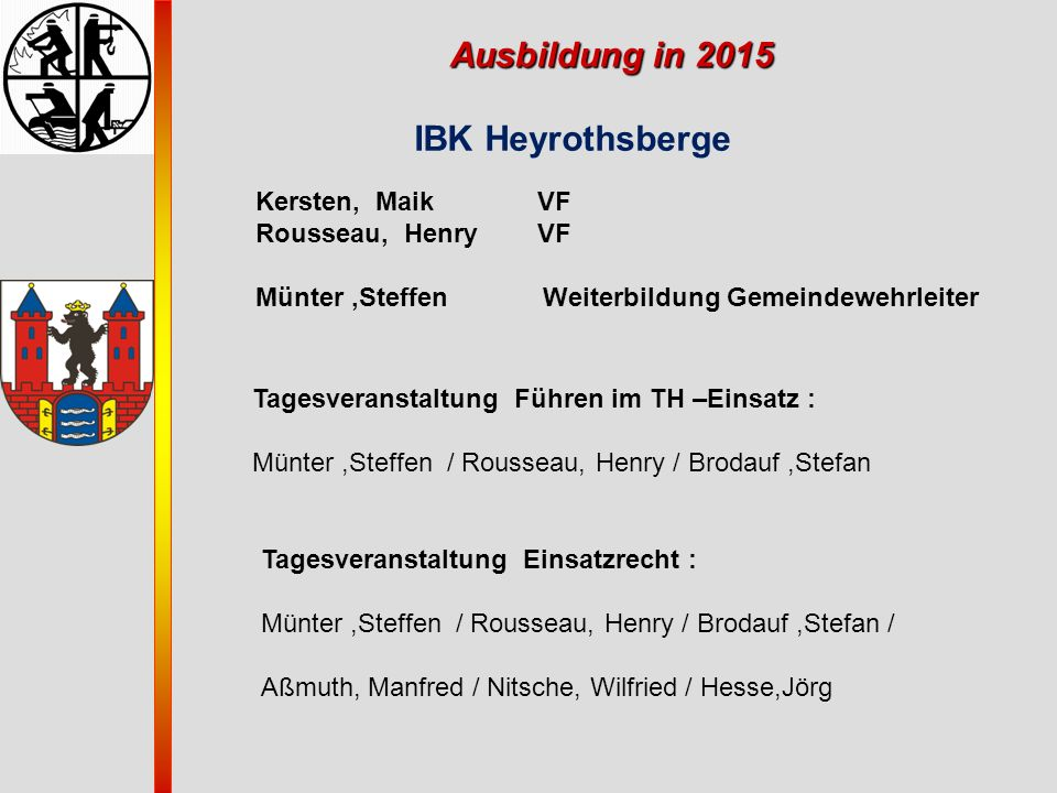 Ausbildung in 2015 IBK Heyrothsberge Kersten, Maik VF