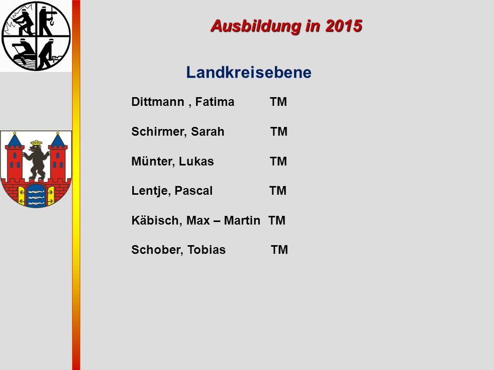 Ausbildung in 2015 Landkreisebene Dittmann , Fatima TM