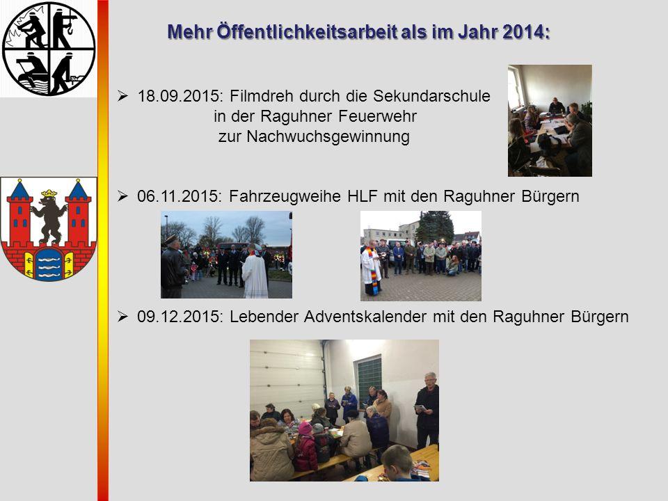 Mehr Öffentlichkeitsarbeit als im Jahr 2014: