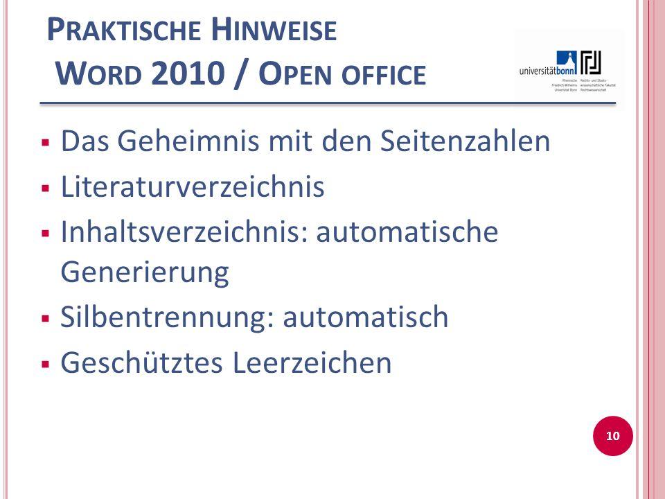 Praktische Hinweise Word 2010 / Open office