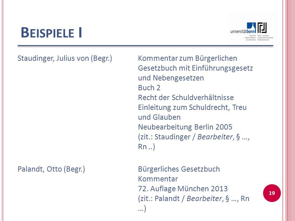 Beispiele I Staudinger, Julius von (Begr.)