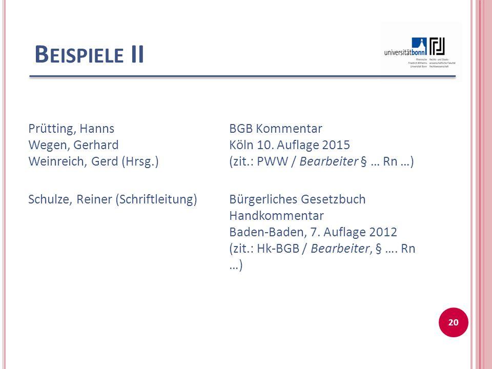 Beispiele II Prütting, Hanns Wegen, Gerhard Weinreich, Gerd (Hrsg.)