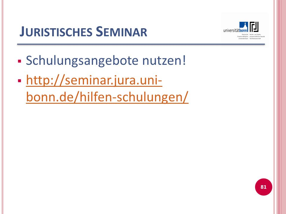 Juristisches Seminar Schulungsangebote nutzen!