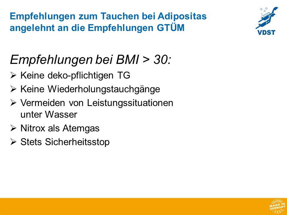 Empfehlungen bei BMI > 30: