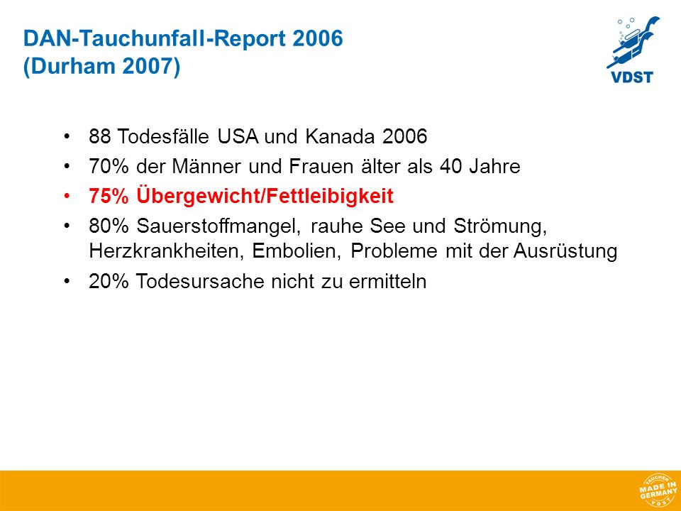 DAN-Tauchunfall-Report 2006 (Durham 2007)