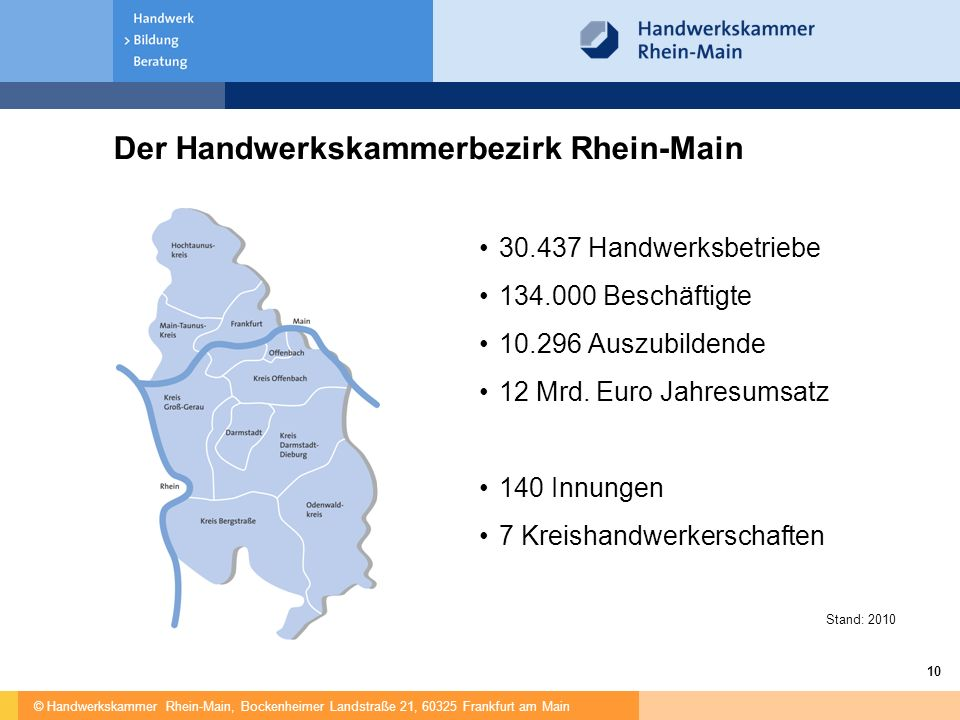Der Handwerkskammerbezirk Rhein-Main