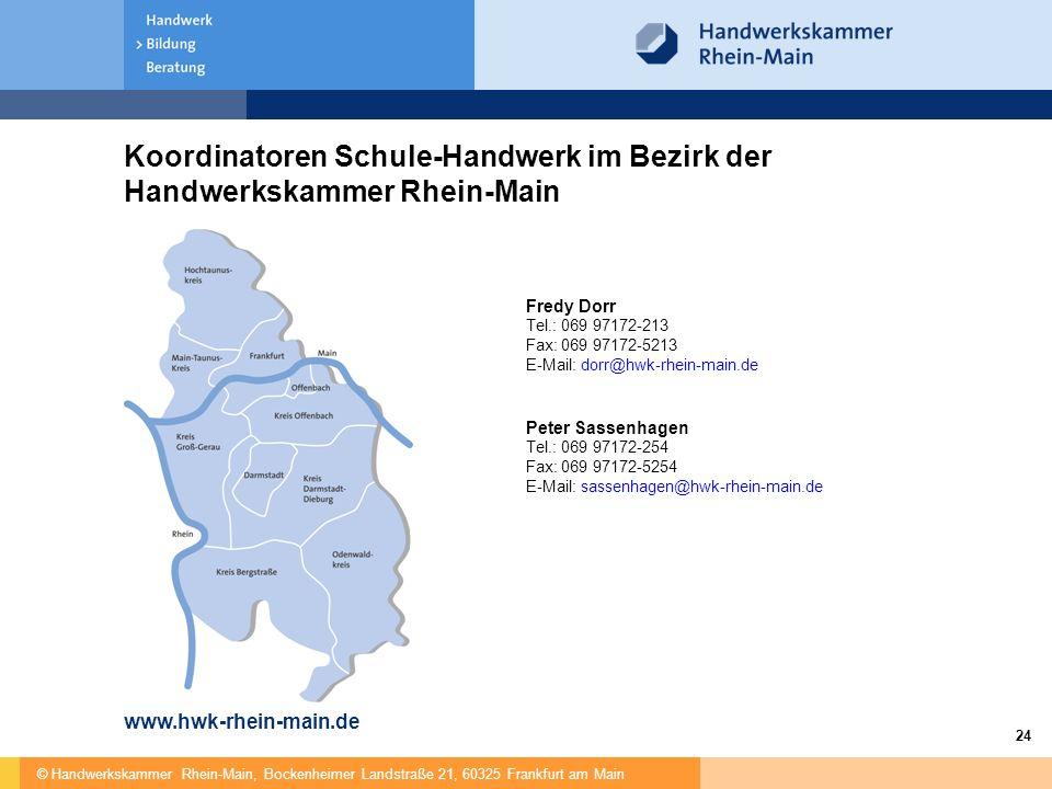 Koordinatoren Schule-Handwerk im Bezirk der Handwerkskammer Rhein-Main