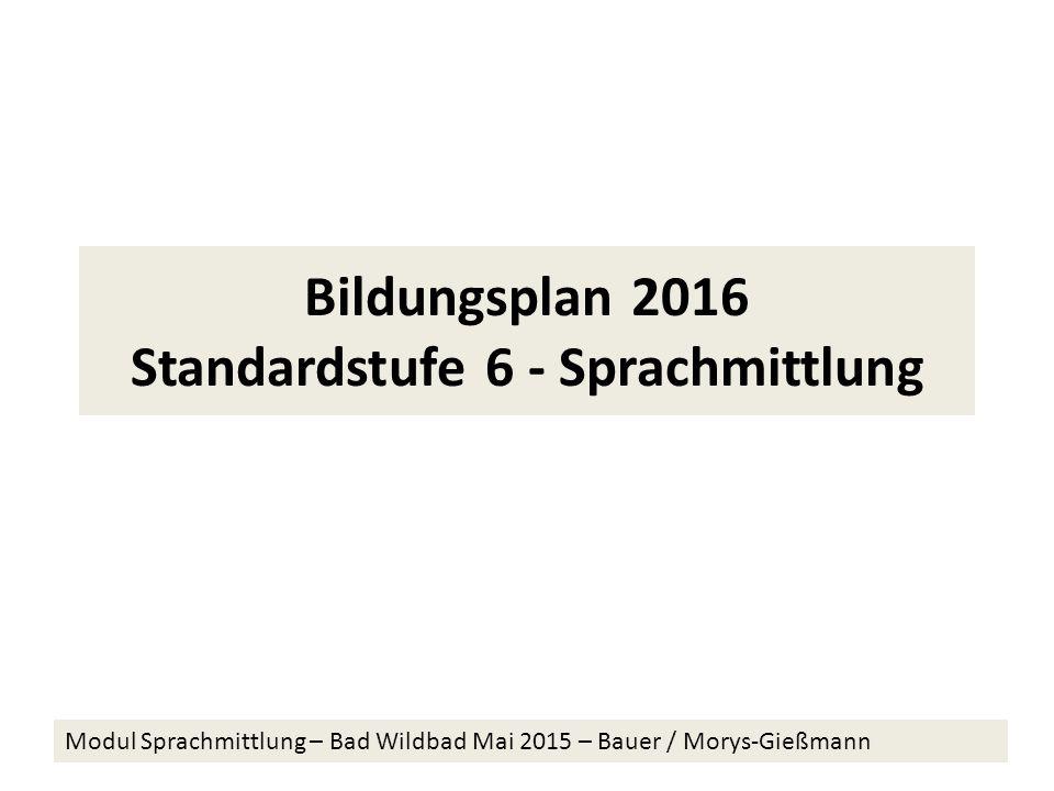 Bildungsplan 2016 Standardstufe 6 - Sprachmittlung