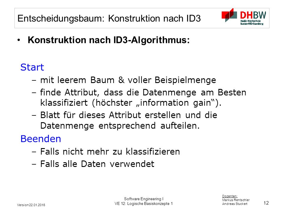 Entscheidungsbaum: Konstruktion nach ID3