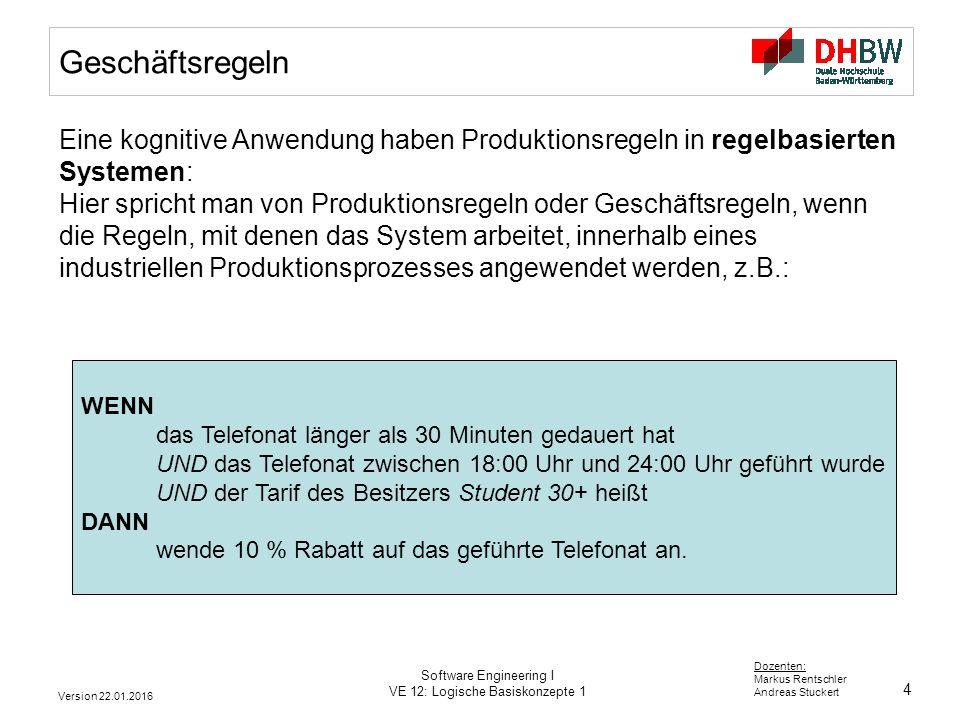 Geschäftsregeln Eine kognitive Anwendung haben Produktionsregeln in regelbasierten Systemen: