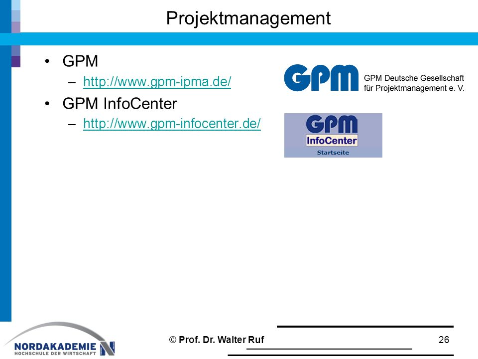 Projektmanagement GPM GPM InfoCenter