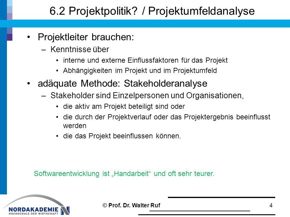 6.2 Projektpolitik / Projektumfeldanalyse