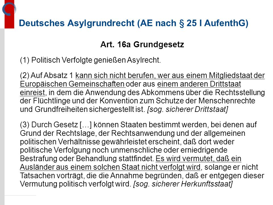 Deutsches Asylgrundrecht (AE nach § 25 I AufenthG)