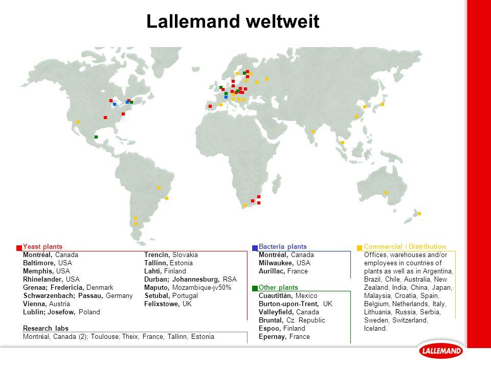 Lallemand weltweit ▪ ▪ ▪ Yeast plants Montréal, Canada Baltimore, USA