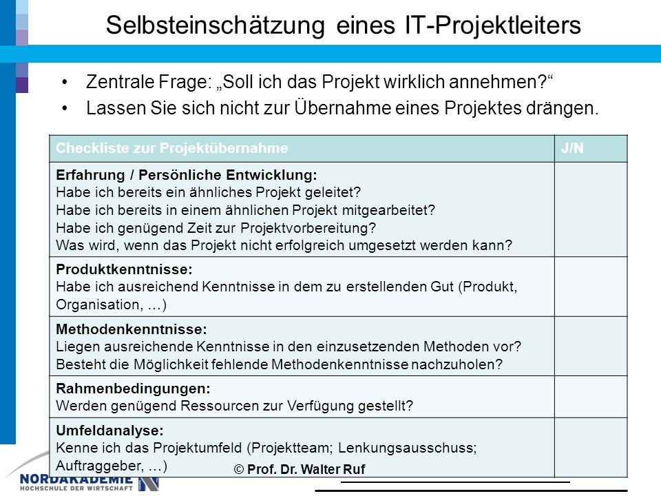 Selbsteinschätzung eines IT-Projektleiters